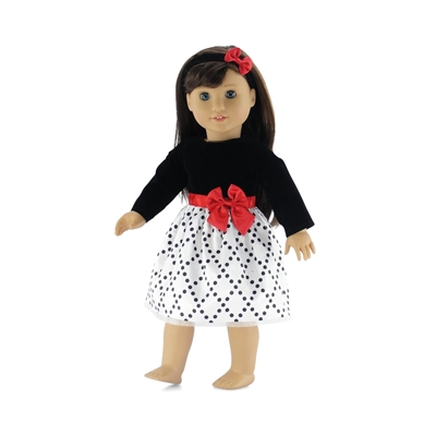 18 Inch Doll Clothes - Black and White Party Dress with Headband - fits American Girl ® Dolls
