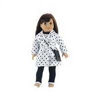 18 Inch Doll Clothes - Trench Coat with T-Shirt, Leggings, and Purse - fits American Girl ® Dolls