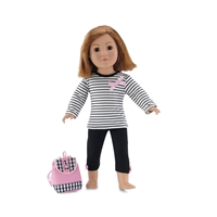 18 Inch Doll Clothes - T-Shirt, Leggings, and Backpack Outfit - fits American Girl ® Dolls