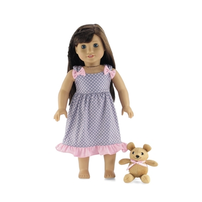 18 Inch Doll Clothes - Polka Dot Nightgown with Teddy Bear - fits American Girl ® Dolls