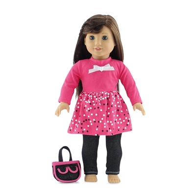 18-inch Doll Clothes - Skinny Jeans and Long-Sleeved Pink Shirt-Dress with Purse - fits American Girl ® Dolls