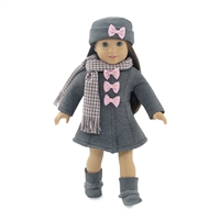 18 Inch Doll Clothes - Grey and Pink Coat with Hat, Boots, and Scarf - fits American Girl ® Dolls