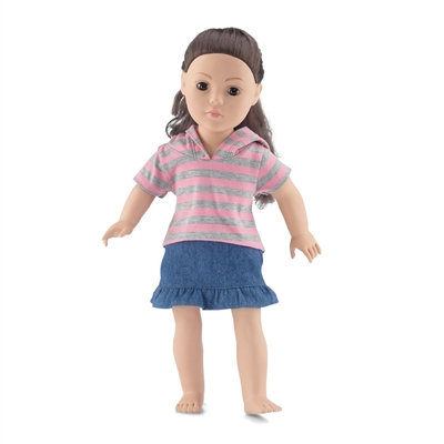 18 Inch Doll Clothes - Denim Ruffled Skirt with Striped T-Shirt and Hood - fits American Girl ® Dolls