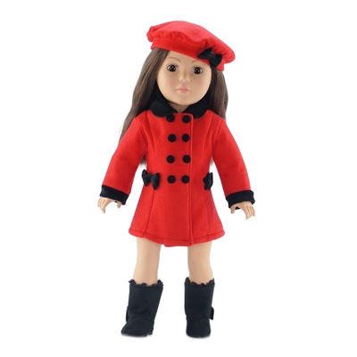 18 Inch Doll Clothes - Red and Black Coat with Hat and Boots - fits American Girl ® Dolls