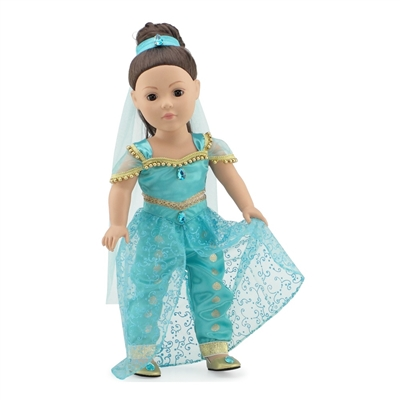 18-inch Doll Clothes - Stunning Princess Jasmine Inspired Outfit and Shoes - fits American Girl ® Dolls