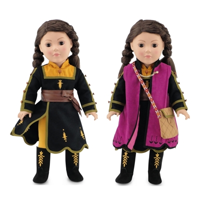 18-inch Doll Clothes - Princess Anna Frozen 2 Inspired Outfit with Boots - fits American Girl ® Dolls