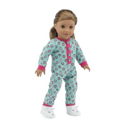 18 Inch Doll Clothes - Lamp Print Pajamas PJs with Adorable Slippers- fits American Girl ® Dolls