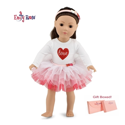 18-Inch Doll Clothes - Valentine's Tutu Outfit with Headband - fits American Girl ® Dolls