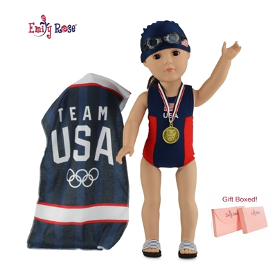 18-Inch Doll Clothes - Six-Piece Team USA Olympic Swim Team Set - fits American Girl ® Dolls