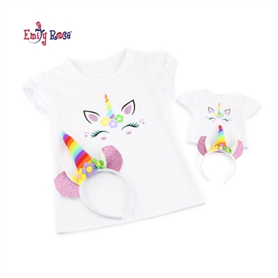 18-Inch Doll Clothes - Girl and Doll Matching Unicorn T-Shirt and Headband Set Medium - fits American Girl ® Dolls