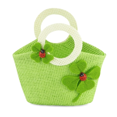 18-inch Doll Accessories - Green Woven Purse with Shamrock / Ladybug Pattern - fits American Girl ® Dolls