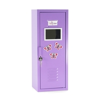 18-inch Doll Accessories - Purple Metal School Locker/ Wardrobe Closet with Lock and Hangers - fits American Girl ® Dolls