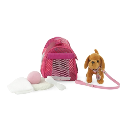 18-inch Doll Accessories - Brown Dog with Pet Carrier Set - fits American Girl ® Dolls