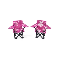18 Inch Doll Accessories - Two Pink and White Flowered Camping Chairs - fits American Girl ® Dolls