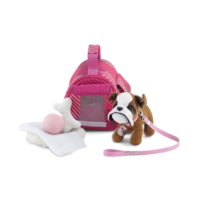 18 Inch Doll Accessories - Pet Carrier and Bulldog Puppy with Accessories - fits American Girl ® Dolls