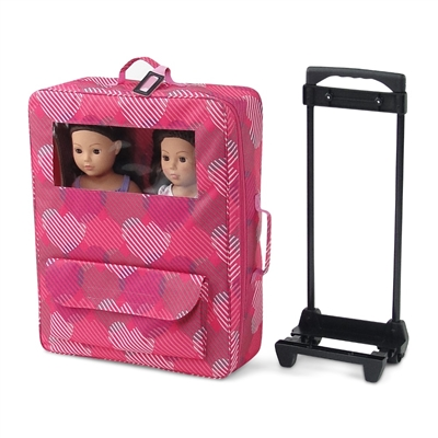 18 Inch Doll Accessories - Windowed Travel Two-Doll Carrier/Bed with Accessories - fits American Girl ® Dolls