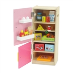 18-inch Doll Furniture - Wooden Refrigerator and Freezer with Accessories - fits American Girl ® Dolls