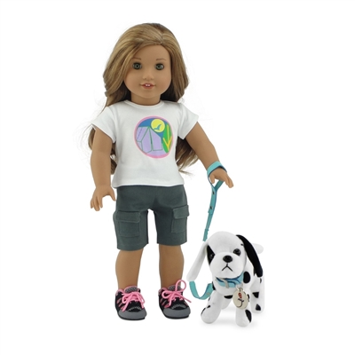 18 Inch Doll Accessories - Dalmatian Puppy with Leash, Collar, and Dog Tag - fits American Girl ® Dolls