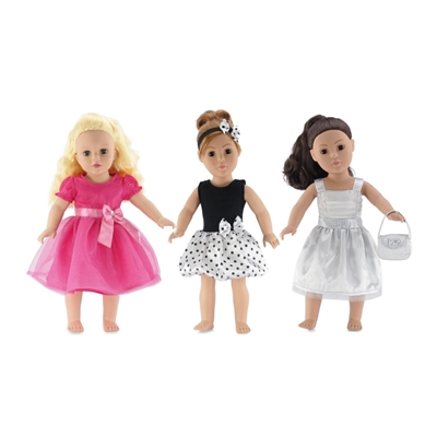 18-Inch Doll Clothes - Value Pack Set 3 Party Dresses with Accessories - fits American Girl ® Dolls