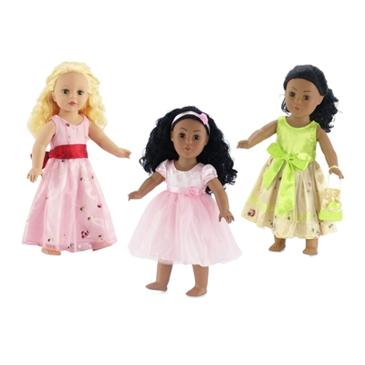 18-Inch Doll Clothes - 3 Pack Value Set 3 Party Dresses with Accessories - fits American Girl ® Dolls