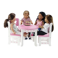 18-inch Doll Furniture - Star Collection Table and 4 Chair Dining Set - fits American Girl ® Dolls
