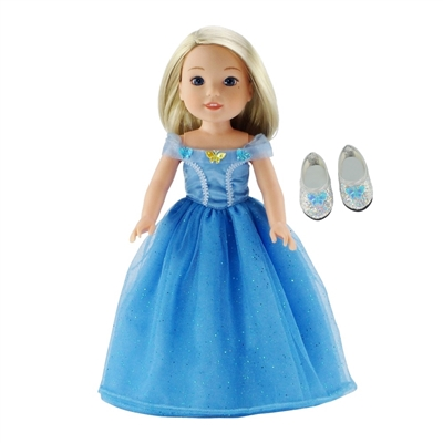 14-inch Doll Clothes - Fabulous Cinderella Inspired Ball Gown and Shoes - fits Wellie Wishers ® Dolls