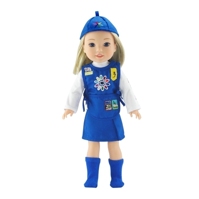 14-Inch Doll Clothes - Daisy Girl Scout-Inspired Outfit with Accessories - fits Wellie Wishers ® Dolls