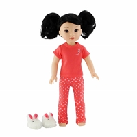 14-inch Doll Clothes - Coral Polka Dot Pajamas/PJs plus Bunny Slippers - fits Wellie Wishers ® Dolls