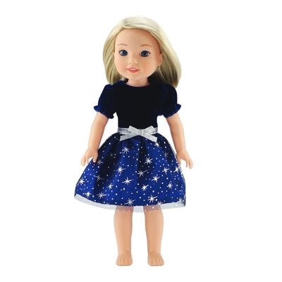 14-inch Doll Clothes - Midnight Blue Holiday Evening Dress with Silver Stars - fits Wellie Wishers ® Dolls