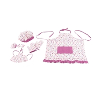 14-Inch Doll Clothes - Girl and Doll Matching Pink Floral Baking Outfits with Apron, Oven Mittens and Chef Hat - fits Wellie Wishers ® Dolls