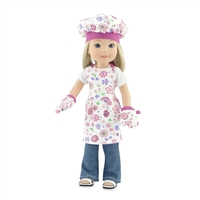 14-Inch Doll Clothes - Pink Floral Baking Outfit with Apron, Oven Mittens and Chef Hat - fits Wellie Wishers  ® Dolls