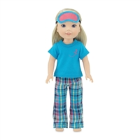 14-inch Doll Clothes - Plaid Style Pajamas/PJs plus Sleep Mask - fits Wellie Wishers ® Dolls