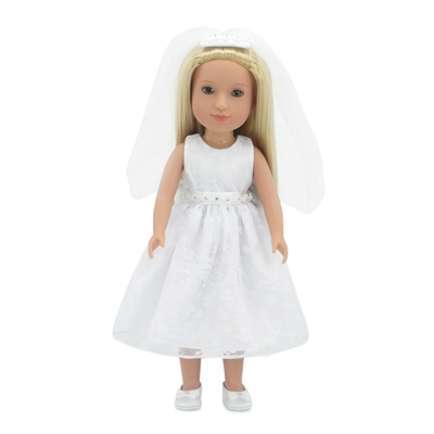 14 Inch Doll Clothes - Bridal/Communion Dress Outfit with Shoes- fits Wellie Wishers ® Dolls