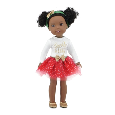 14 Inch Doll Clothes - Holiday Tutu Sparkle Outfit Glittery Shoes - fits Wellie Wishers ® Dolls