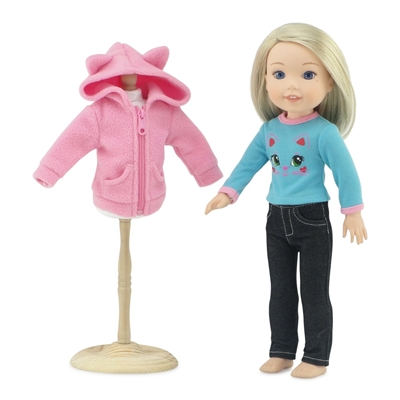 "14-inch Doll Clothes - ""Cat"" Jacket, Jeans, and Tee Shirt - fits Wellie Wishers ® Dolls"