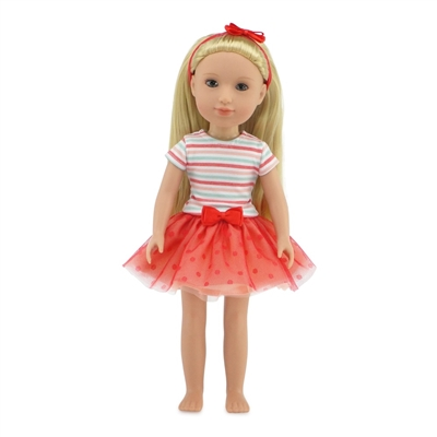 14 Inch Doll Clothes - Coral Tutu Outfit with Headband - fits Wellie Wishers ® Dolls