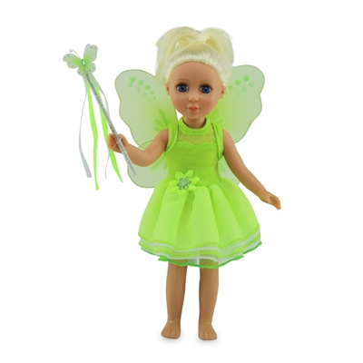 14-Inch Doll Clothes - Tinkerbelle-Inspired Fairy Outfit with Wings and Wand - fits Wellie Wishers ® Dolls