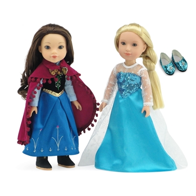 14-inch Doll Clothes - Princess Elsa and Anna Inspired Outfit Set - fits Wellie Wishers ® Dolls