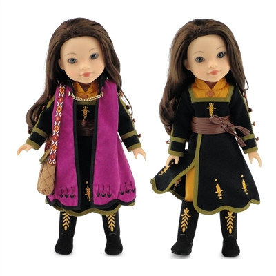 14-inch Doll Clothes - Princess Anna Frozen 2 Inspired Outfit with Boots - fits Wellie Wishers Dolls
