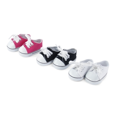 14 Inch Doll Clothes - 3 Pair (Pink, White, and Black) Sneakers - fits Wellie Wishers ® Dolls