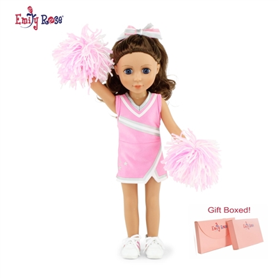 14-inch Doll Clothes - Pink Cheerleader Outfit with Pom Poms and Gym Shoes - fits American Girl ® Dolls