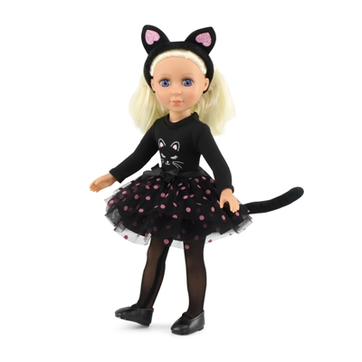 14-Inch Doll Clothes - Black Cat Costumer Outfit with Headband - fits Wellie Wishers ® Dolls