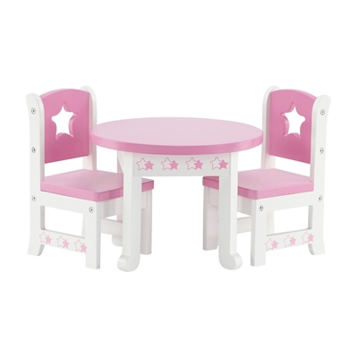 14-inch Doll Furniture - Star Collection Table and 2 Chair Dining Set - fits American Girl ® Wellie Wishers Dolls