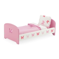 14-inch Doll Furniture - Pink Single Bed with Butterfly Detail (Includes Bedding) - fits American Girl ® Wellie Wishers Dolls