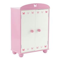 14-inch Doll Furniture - Pink Armoire with Butterfly Detail (Includes 5 Clothes Hangers) - fits American Girl ® Wellie Wishers Dolls