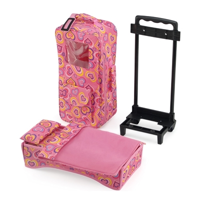 14 Inch Doll Accessories - Windowed Travel Doll Carrier/Bed with Accessories - fits American Girl ® Wellie Wishers  Dolls