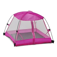 14 Inch Doll Accessories - Pink Dining Canopy Camping Tent with Case - fits American Girl Wellie Wishers ® Dolls