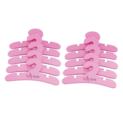 14-inch Doll Furniture - 10 Pink Wooden Doll Clothes Hangers - fits American Girl ® Wellie Wishers Dolls