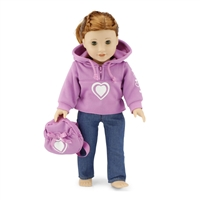 18-inch Doll Clothes - Pink Hoody / Heart Design and Skinny Jeans, Includes Pink Belt and Backpack - fits American Girl ® Dolls