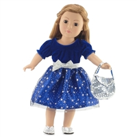 18-inch Doll Clothes - Midnight Blue Evening Dress with Silver Stars and Silver Purse - fits American Girl ® Dolls